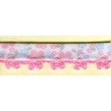 Косая бейка MATSA с фестонным краем, бело-розовая, 10 мм