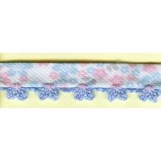 Косая бейка MATSA с фестонным краем, бело-голубая, 10 мм