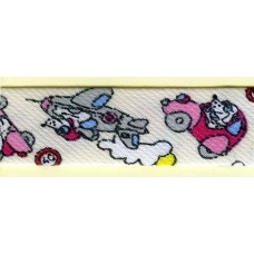Косая бейка MATSA с детским принтом, молочно-белая с розовым, 18 мм