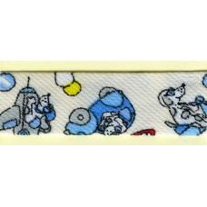 Косая бейка MATSA с детским принтом, молочно-белая с голубым, 18 мм