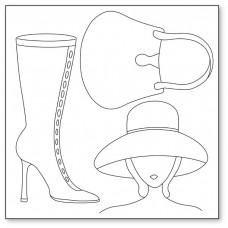 Салфетка рисовая с контуром рисунка Silhouette art, Женщина в шляпе, сумка, сапожок