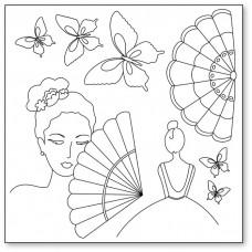 Салфетка рисовая с контуром рисунка Silhouette art, Женщина с веером