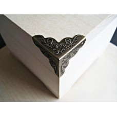 Уголки металлические для шкатулок, бронза