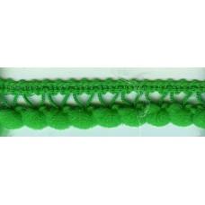 Тесьма с помпонами однорядная зеленая 1 метр