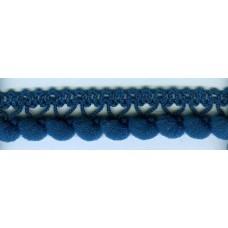Тесьма с помпонами однорядная цвета морской волны 1 метр