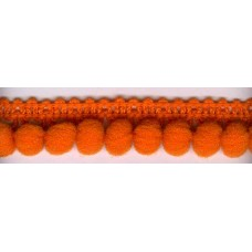 Тесьма с помпонами однорядная темно-оранжевая 1 метр