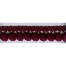 Тесьма с помпонами однорядная  бордовая 1 метр