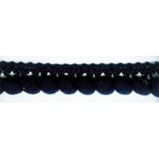 Тесьма с помпонами однорядная чёрная 1 метр