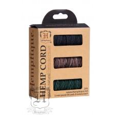 Шнуры в коробочке на катушках HEMPTIQUE #20 - 1 мм, 3 цвета по 9 м