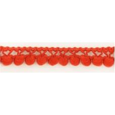 Тесьма с помпонами однорядная  темно-красная 1 метр