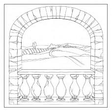 Салфетка рисовая с контуром рисунка Деревенская арка