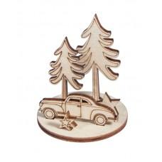 Фигурки для сборки композиции Автомобиль в зимнем лесу