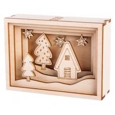 Набор высеченных элементов на доске из дерева для создания 3D композиции в раме Зимний домик