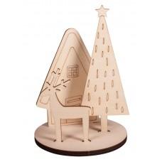 Набор высеченных элементов на доске из дерева Зимний дом