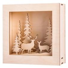 Набор высеченных элементов на доске из дерев для создания 3D композиции в раме Зимняя страна