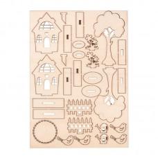 Набор высеченных элементов  на доске из дерева Садовые домики
