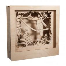Набор высеченных элементов на доске из дерев для создания 3D композиции в раме Тукан