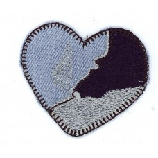 Термоаппликация Сердце джинсовое с люрексом