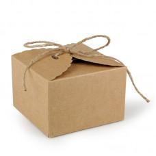 Коробка картонная с джутовым бантом