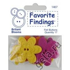 Пуговицы из войлока Favorite Findings Felt Сияющие цветы