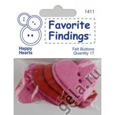 Пуговицы из войлока Favorite Findings Felt Счастливые сердечки
