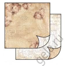 Бумага двухсторонняя для скрапбукинга Цветы - слоновая кость\коричневый, лист