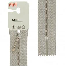 Молния металл, Ni, слайдер Kuke, на люрексной тесьме, 4 мм, неразъёмная,18 см, цвет тесьмы серебро