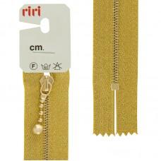 Молния металл, Gold, слайдер Kuke, на люрексной тесьме, 4 мм, неразъёмная,18 см, тесьма золотистая