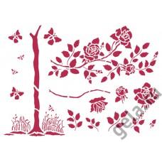 Трафарет Розовый сад