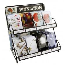 Дисплей металлический с булавками в жестянных коробочках,  8 видов по 5 кор.