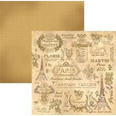 Бумага двухсторонняя для скрапбукинга Эйфелева башня, лист