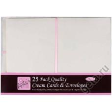 Набор заготовок для открыток с конвертами формат А5, 25 шт