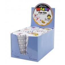Булавки - гвоздики WACKY PIN TIN в жестяных круглых коробочках (30 шт) , картонный дисплей
