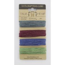 Шнуры на блистере HEMPTIQUE #20 - 1 мм, 4 цвета по 9,1 м