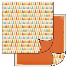 Бумага двухсторонняя для скрапбукинга Треугольники в стиле ретро, лист