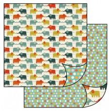 Бумага двухсторонняя для скрапбукинга Слоны в стиле ретро, лист