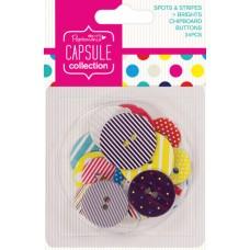 Набор пуговиц картонных Spots & Stripes Brights