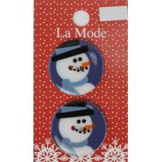 Пуговицы LA MODE CRISTMAS Портрет Снеговика 28 мм, 2 шт. на блистере