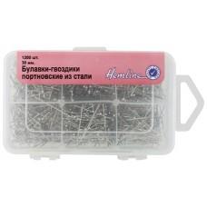 Булавки-гвоздики портновские из стали в пластиковом контейнере