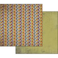 Бумага двухсторонняя для скрапбукинга Фактура коричневого и красного, лист