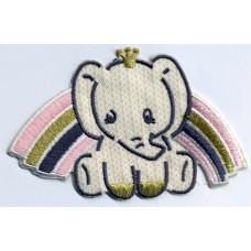 Термоаппликация HKM Слонёнок и розовая радуга, 1 шт