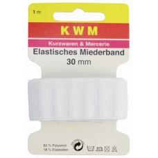 Эластичная тесьма для пояса HKM, белая, 30 мм