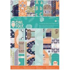Набор бумаги для скрапбукинга и бумаги с высечкой Owl Folk, A4