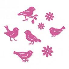 Набор самоклеящихся декоративных элементов на клеевой основе Цветы и птицы, 8 шт