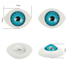 Глаза круглые выпуклые цветные TBY 19мм цв. голубой упак 200шт.