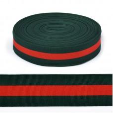 Тесьма TBY тканая Рубчик неэластичная Лампас NET0538 шир.38мм цв.зеленый/крас уп.45,7м